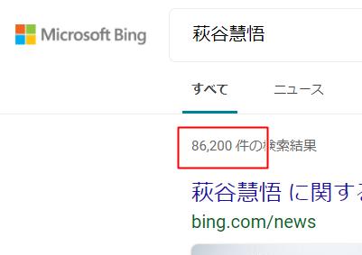 Bingでの萩谷慧悟検索結果