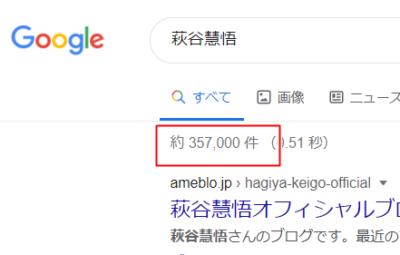 Googleでの萩谷慧悟検索結果