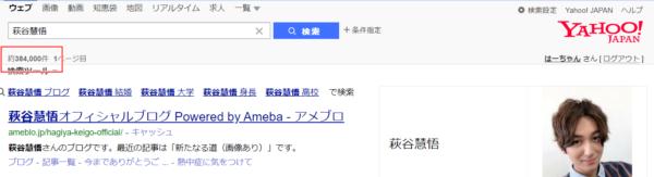 Yahoo!での萩谷慧悟検索結果