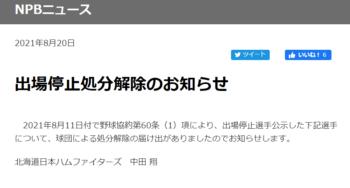 中田翔選手の謹慎解除のお知らせ